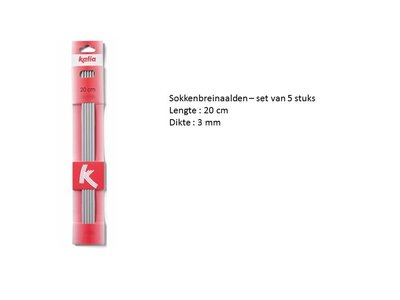 Set van 5 sokkenbreinaalden 3 mm