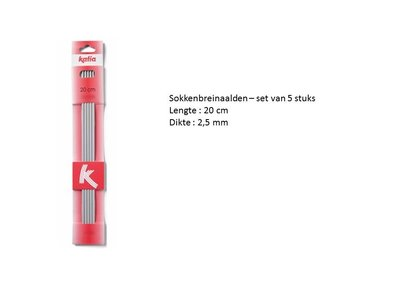 Set van 5 sokkenbreinaalden 2,5 mm