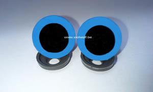 2 veiligheidsoogjes 15 mm blauw