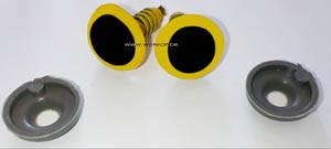 2 veiligheidsoogjes 10 mm geel